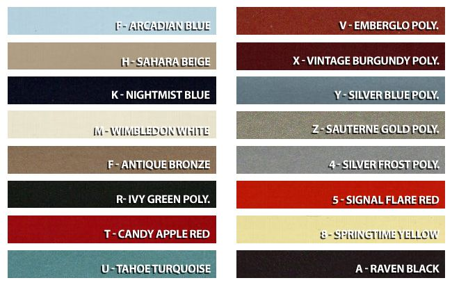 1966 Mustang Color Chart