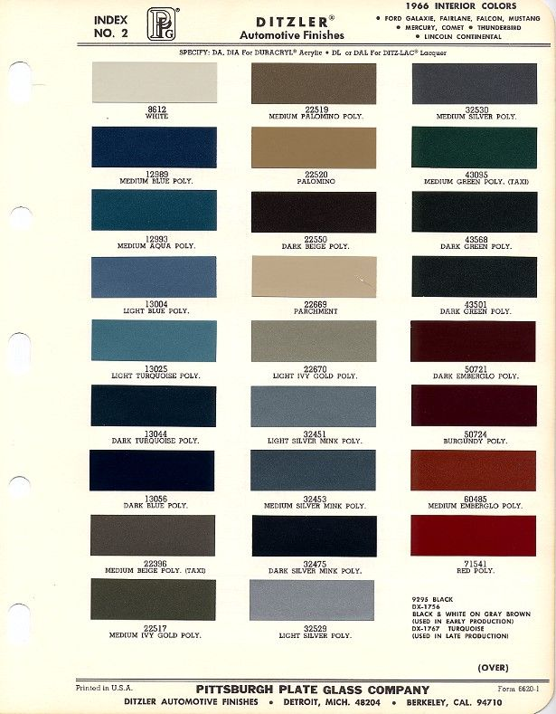 1966 Mustang Interior Color Chart