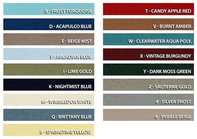 1967 Mustang Color Chart