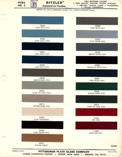 1967 Mustang Interior Color Chart