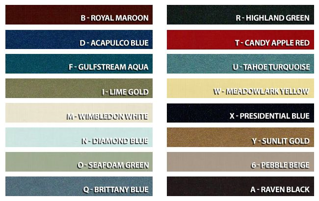 1968 Mustang Color Chart