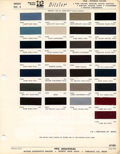 1968 Mustang Interior Color Chart