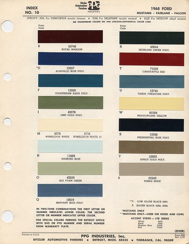 1968 Mustang PPG / Ditzler Colors