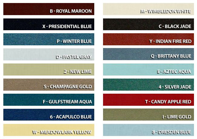 1969 Mustang Color Chart
