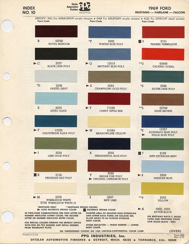 1969 Mustang PPG : Ditzler Colors