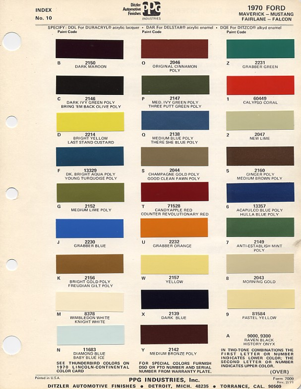 1970 Mustang PPG / Ditzler Colors