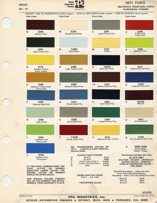 1971 Mustang Color Chart (PPG / Ditzler Colors)
