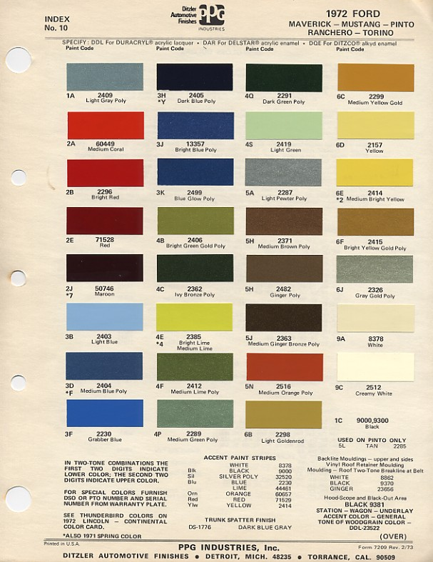 1972 Mustang Color Chart (PPG / Ditzler Colors)