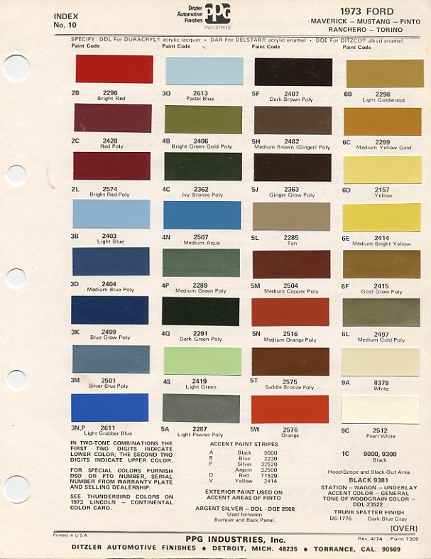 1973 Mustang Color Chart (PPG / Ditzler Colors)