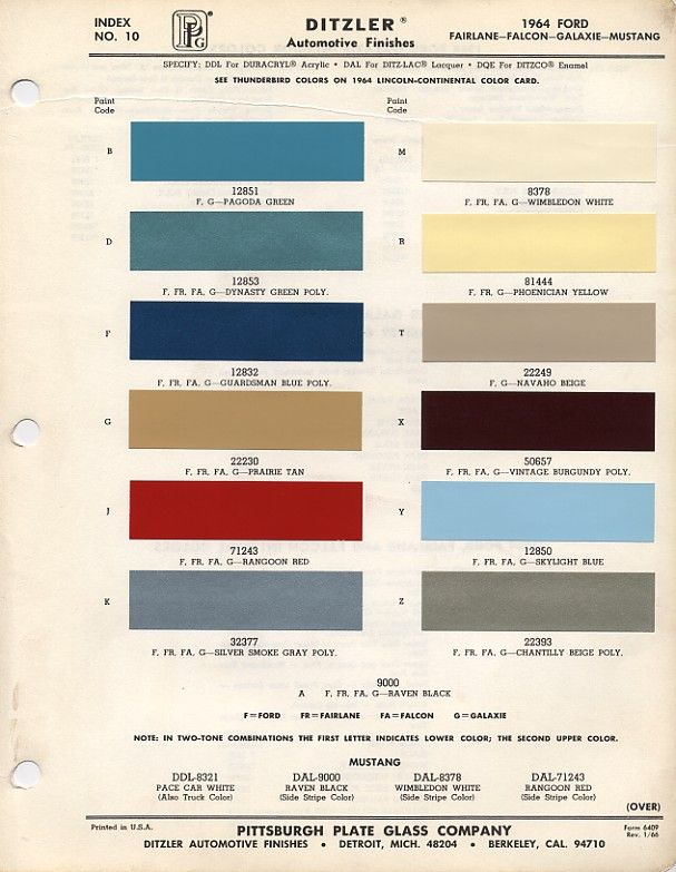 1964.5 Mustang Color Chart
