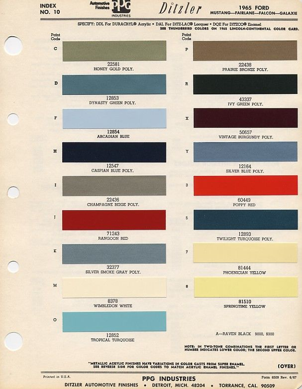 1965 Mustang Color Chart