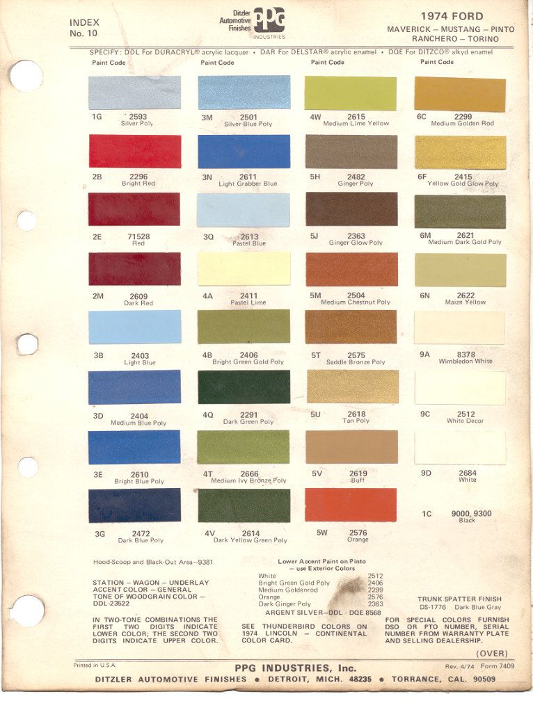 1974 Mustang Color Chart (PPG / Ditzler Colors)