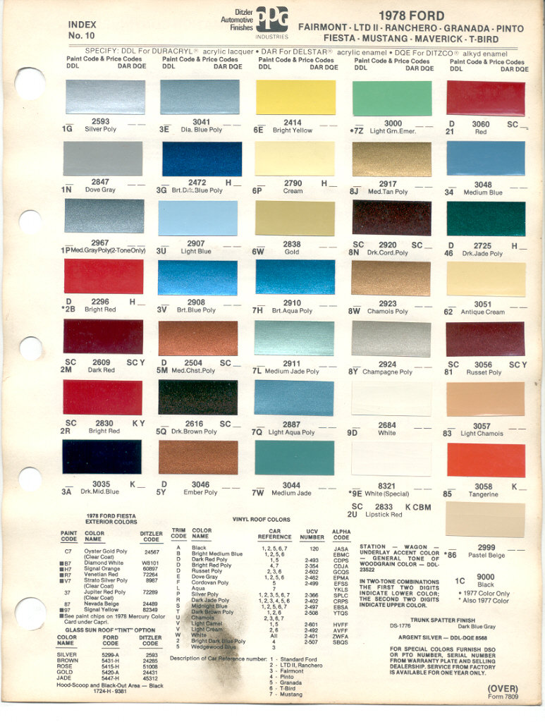 1978 Mustang Color Chart (PPG / Ditzler Colors)