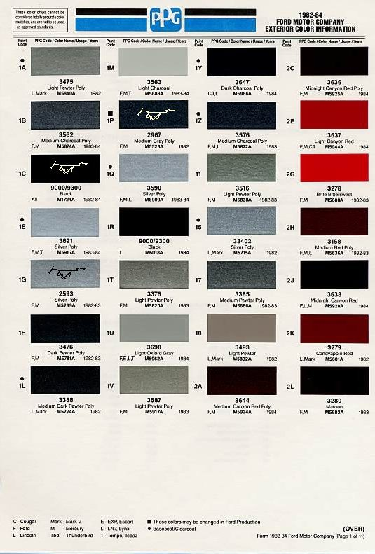1982 Mustang Color Chart (PPG / Ditzler Colors)