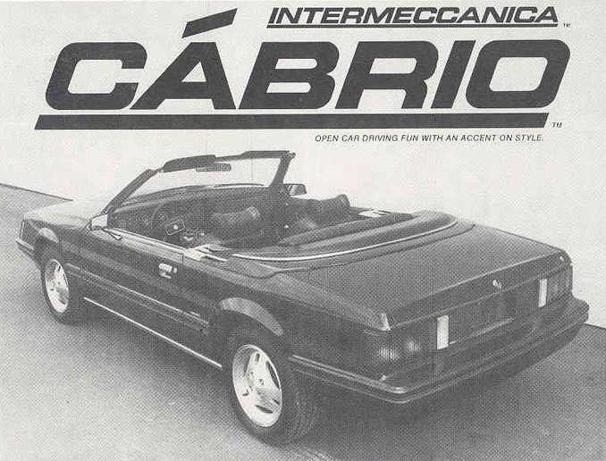 1982 Mustang Intermeccanica Convertible Advertisement