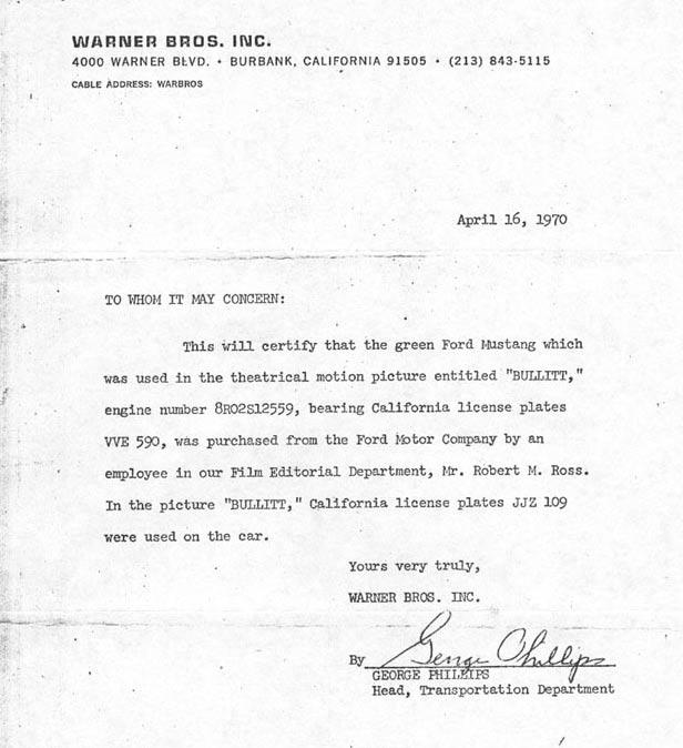 warner letter bullitt