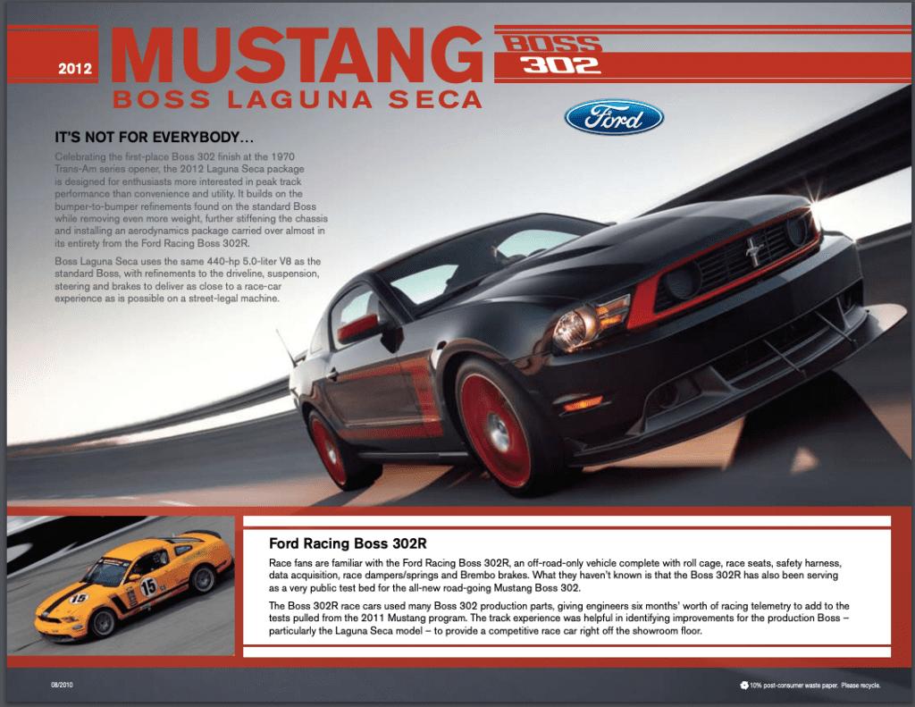 2012 302 Boss Laguna Seca Fact Sheet