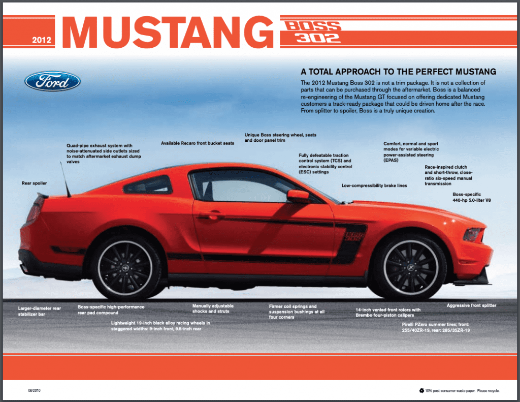 2012 Ford Mustang Boss Fact Sheet