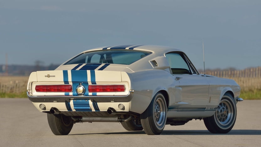White 1967 GT500 Super Snake with blue racing stripes