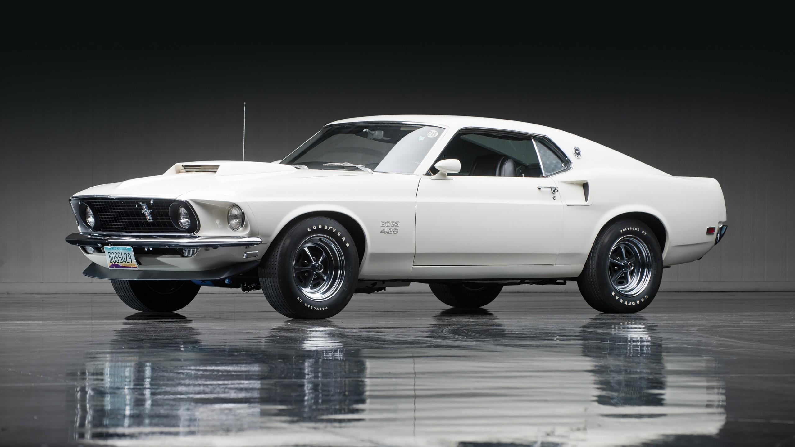1969 White Ford Mustang Boss 429