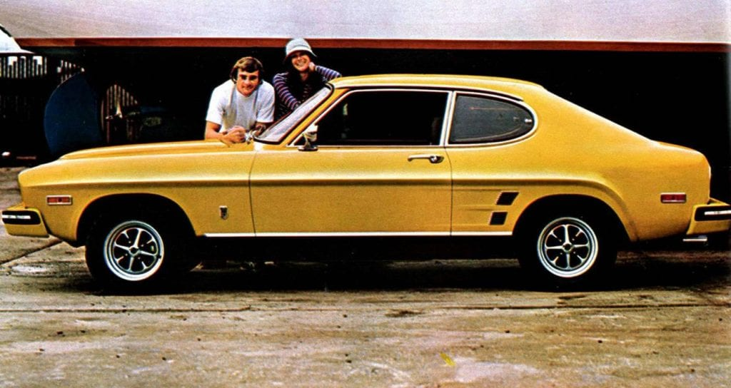 1970 Ford Capri (as it was marketed in Europe) sales brochure image.