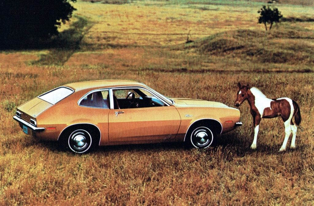 "Early advertisement for the 1971 Ford Pinto. Is it any wonder that the new Pinto was pictured next to a Colt (a ""baby Mustang""??)"