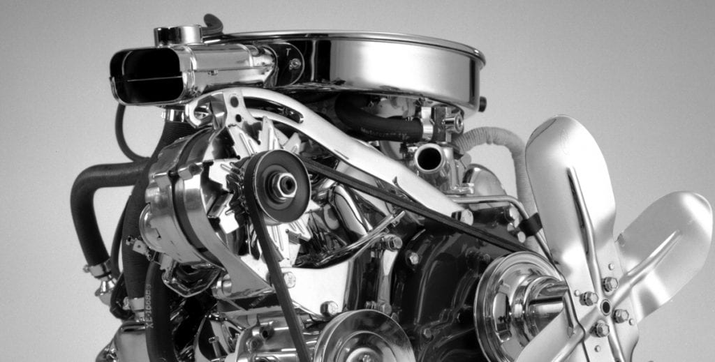 This 2.3L inline four-cylinder engine was a major departure from the large V8 engines used in many of the earlier Mustangs.