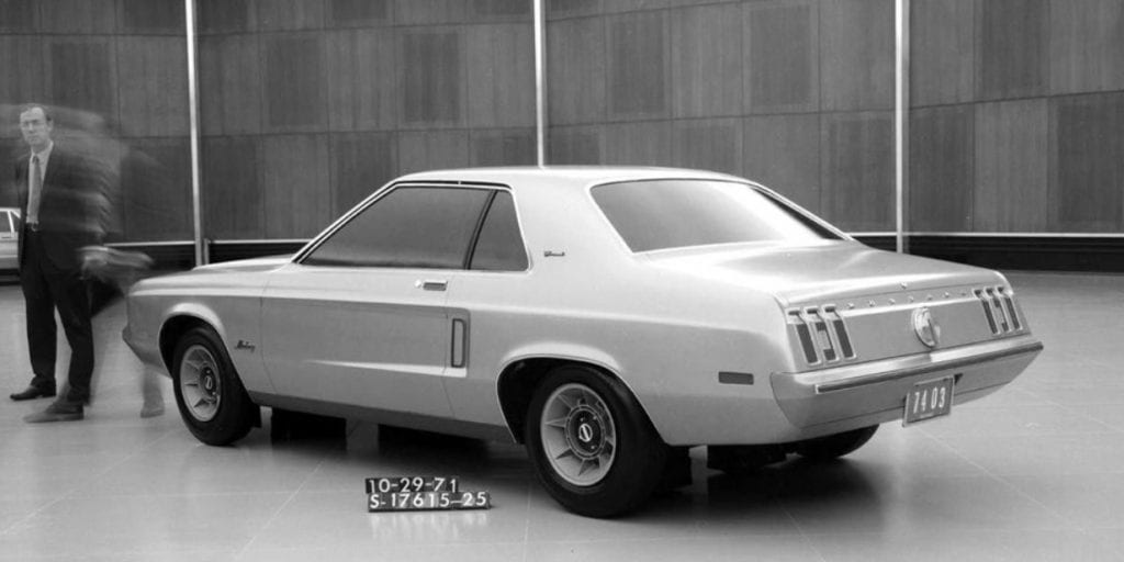 "Another prototype of Lee Iacocca's ""little jewel."" The notchback Mustang II would offer premium-yet-affordable quality."