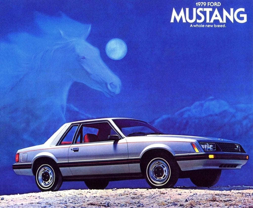 Early promotional flyer for the 1979 Fox-body Ford Mustang.