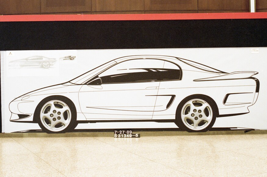 Early sketches of the fourth-generation Mustang.