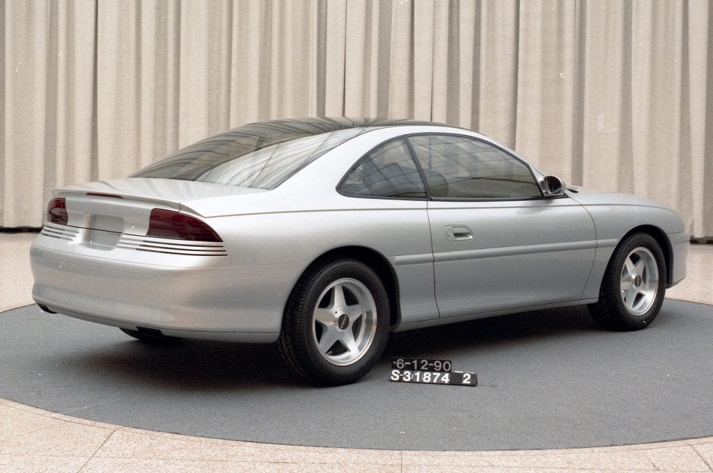 1990 clay model of the SN95 Mustang. From this model early design elements begin to coalesce towards the car's ultimate final design.