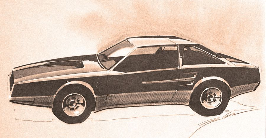 Early illustrations of the Fox Body Mustang from Ford dated February 24, 1976, Both of these examples display proportions similar to the final car, though with significantly more elaborate detailing and massive intakes.