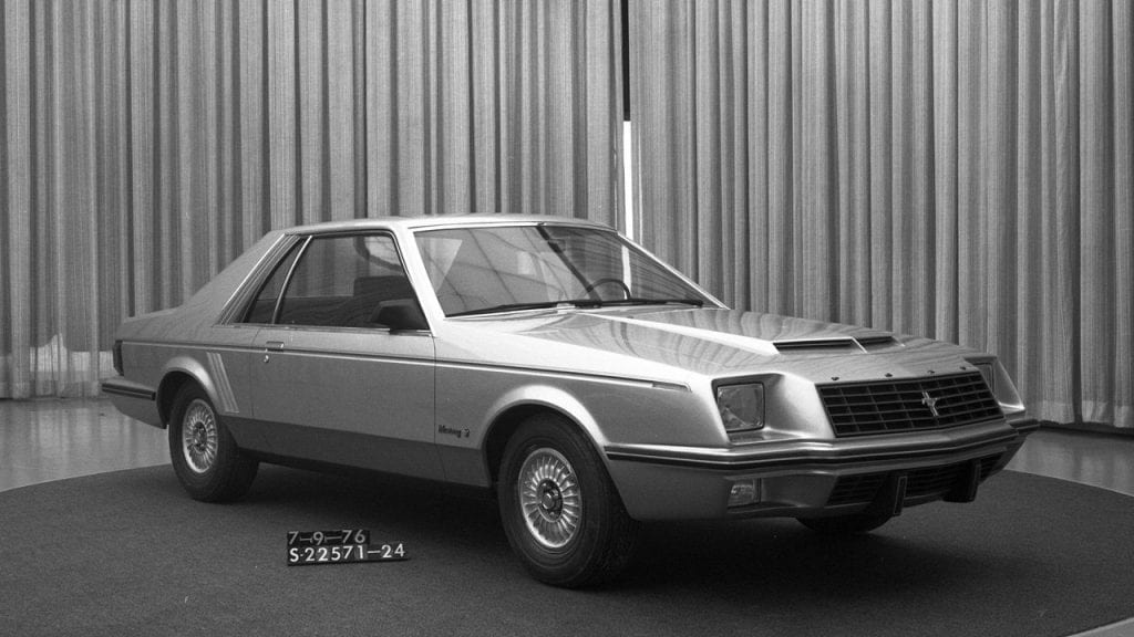Another prototype, this one from July 1976, begins to reveal many of the design cues that would become part of the Fox-body Mustang.