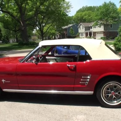 1966 Ford Mustang Convertible In Red Paint Walkaround & Engine Start-Up