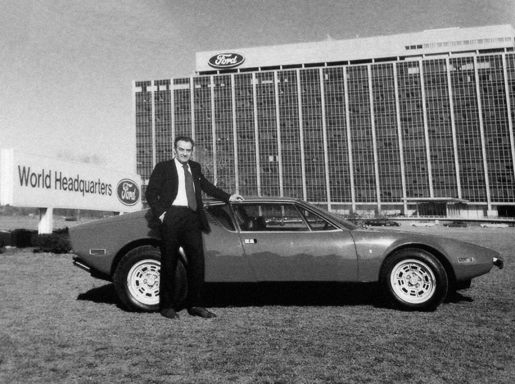 Alejandro de Tomaso was responsible for developing the prototype design of the Mustang II. NOTE: Tomaso pictured here with his famous Pantera in front of Ford World Headquarters.