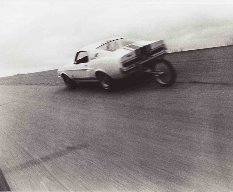 The 1967 Super Snake during test laps at the Good Year Test Track in San Angelo, Texas