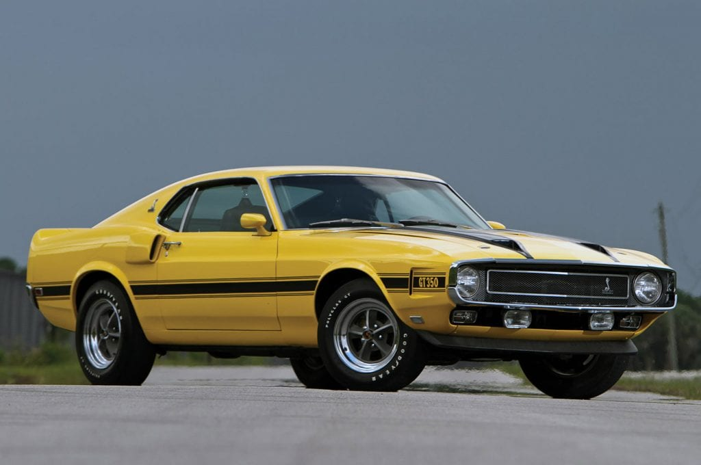 The 1970 Shelby GT350. Note the front chin spoiler.