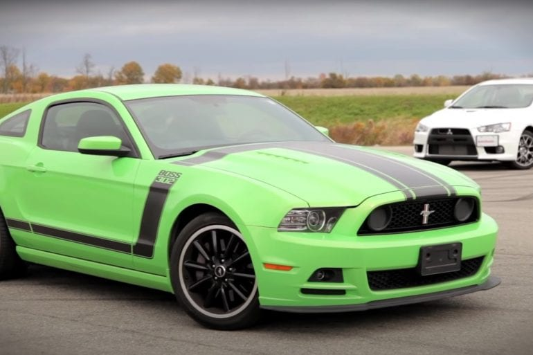 Video: 2013 Ford Mustang Boss 302 vs. 2013 Mitsubishi Lancer Evolution MR