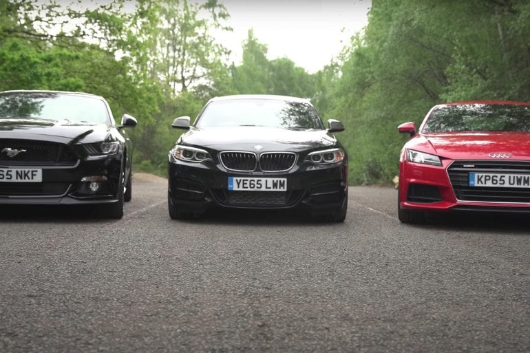 Video: 2017 Ford Mustang vs Audi TT vs BMW M235i - Coupes Review