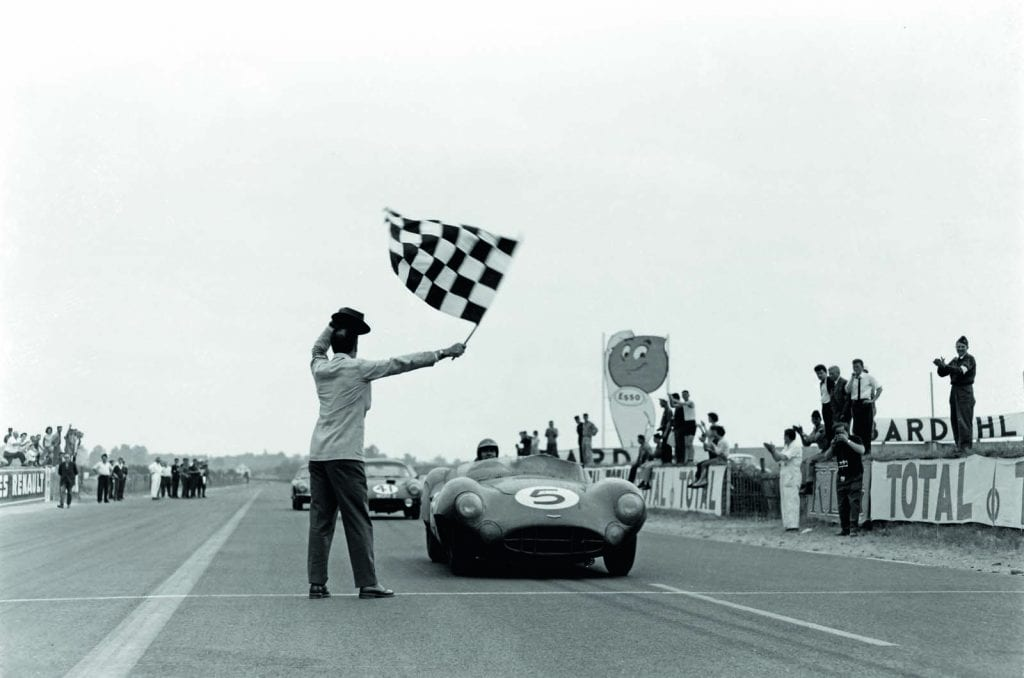 Carroll Shelby (driving an Aston Martin) wins the 24 Hours of Le Mans in 1959.