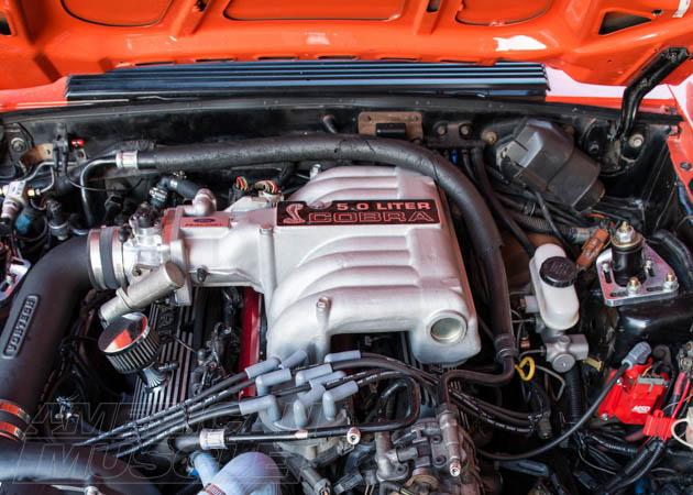 Mustang 5.0 liter engine with Cobra intake