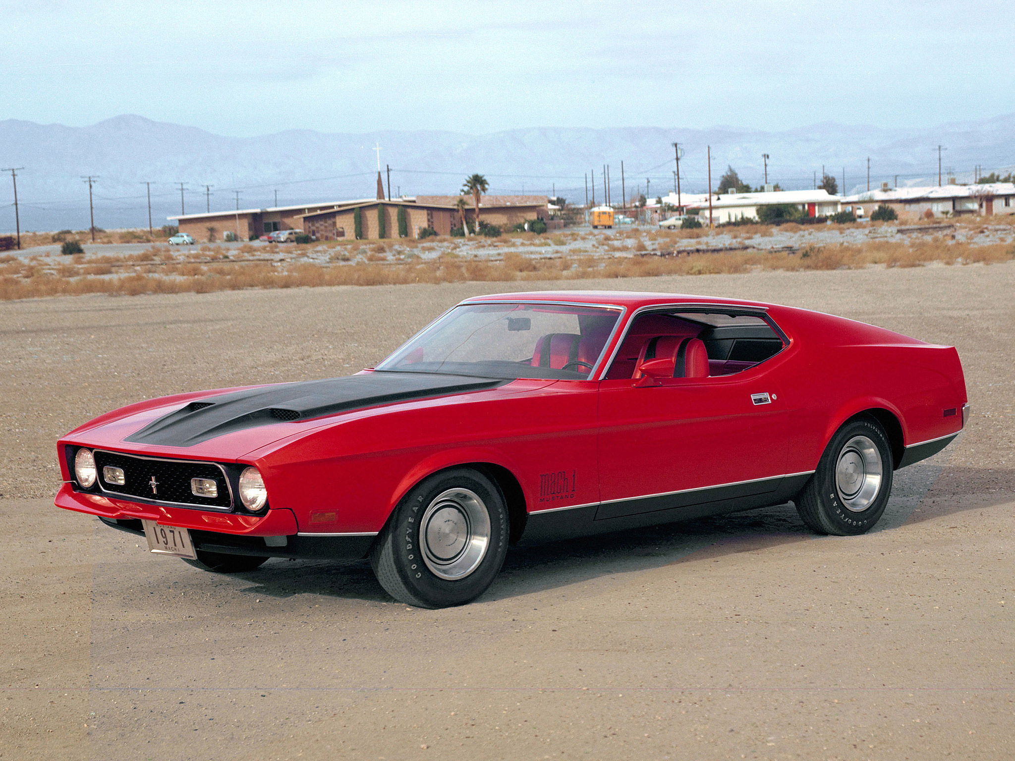 Red 1971 Mach 1 Mustang
